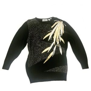 Vintage Erez Black Sequin Leather Feather Sweater